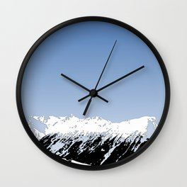 Mountains essentials - Snow and bright sky Wall Clock