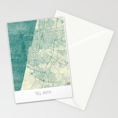 Tel Aviv Map Blue Vintage Stationery Cards