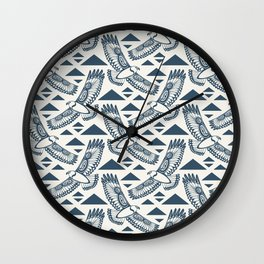 The Hawk's Flight_ Beige and Blue Wall Clock