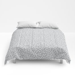 Silver Gray and White Polka Dot Pattern Comforters
