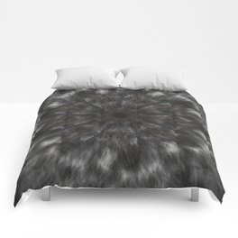 Radial Fur Texture  - Grayscale and Gold Comforters