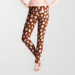 Burnt Orange Spots (white/burnt orange) Leggings