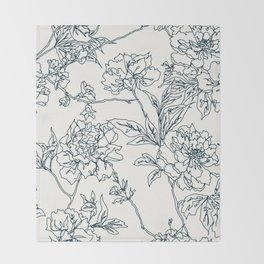 Navy and Cream Vintage Chinoiserie Botanical Floral Toile Wallpaper Pattern Throw Blanket