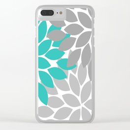 Flower Burst Turquoise Gray Dahlia Floral Pattern Clear iPhone Case