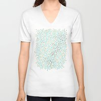 bee V-neck T-shirts featuring Berry Branches – Turquoise & Gold by Cat Coquillette