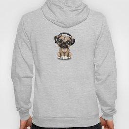 Cute Pug Puppy Dj Wearing Headphones and Glasses on Blue Hoody