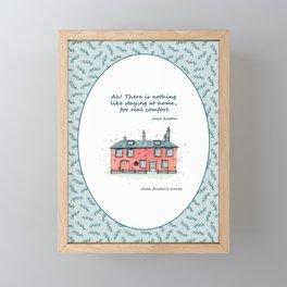 Jane Austen house and quote Framed Mini Art Print
