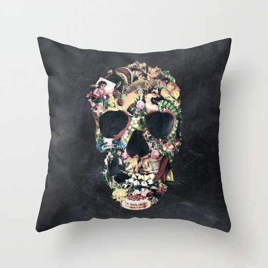 Vintage Skull Throw Pillow