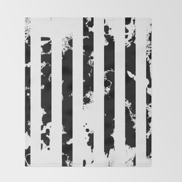 Splatter Bars - Black ink, black paint splats in a stripey stripy pattern Throw Blanket