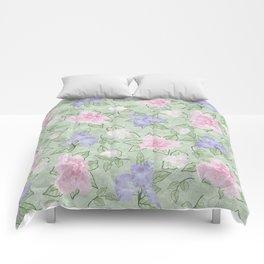 Flower Play Pink Lavender Green Antique Look Comforters