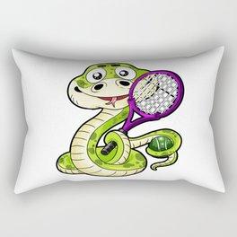 Tennis Player Viper Snake Racket Badminton Comic Rectangular Pillow
