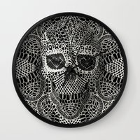 3d Wall Clocks featuring Lace Skull by Ali GULEC