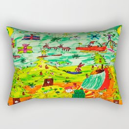 Christmas Village | Painting by Elisavet Rectangular Pillow