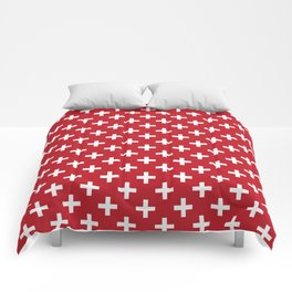 Criss Cross   Plus Sign   Red and White Comforters