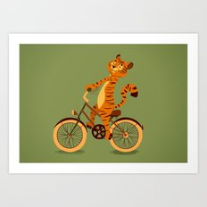 Tiger on the bike Art Print