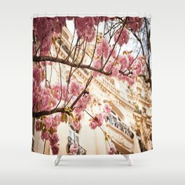 Flowers and Building Shower Curtain
