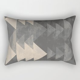 Geometric triangles abstract pattern - Gray tones & Beige Rectangular Pillow