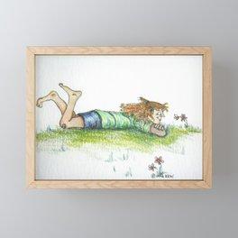 Girl with Bumblebee Framed Mini Art Print