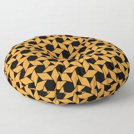 JAVELIN bright orange pinwheels on black background Floor Pillow