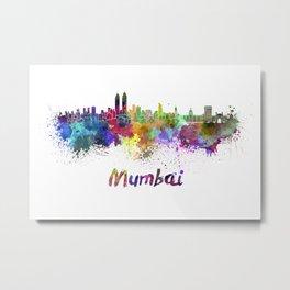 Mumbai skyline in watercolor Metal Print