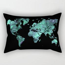 world map 77 blue Rectangular Pillow
