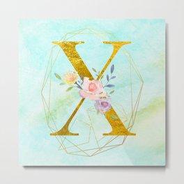Gold Foil Alphabet Letter X Initials Monogram Frame with a Gold Geometric Wreath Metal Print