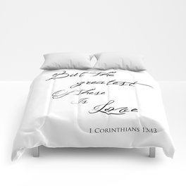 Black & White Religious Typography Quote - But The Greatest Of These Is Love - Corinthians 13:13 Comforters