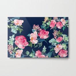 Navy and Pink Watercolor Peony Metal Print