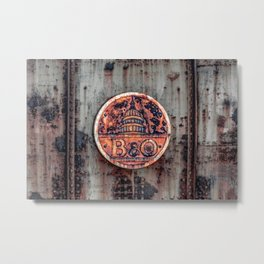 Rusted B&O Emblem Baltimore and Ohio Railroad Train Bridge Insignia Rust Metal Print