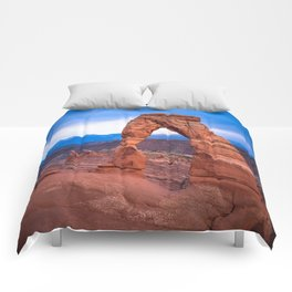 Delicate - Delicate Arch Glows on Rainy Day in Utah Desert Comforters