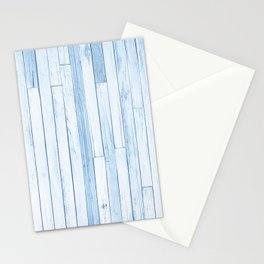 Blue Reclaimed Wood Pattern Stationery Cards