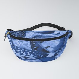 Blue Exotic Butterfly Wings and Scroll Collage Fanny Pack