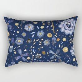 Indigo Flowers at Midnight Rectangular Pillow
