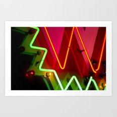 Neon sign closeup Art Print
