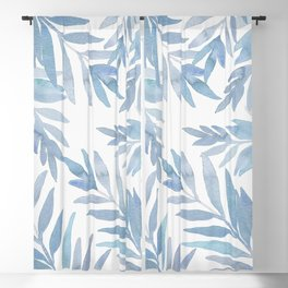 Muted Blue Palm Leaves Blackout Curtain