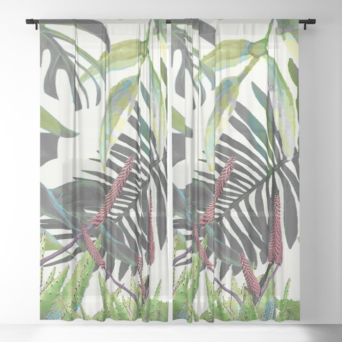 Watercolor Plants II Sheer Curtain