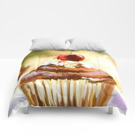 Cupcake with cherry Comforters