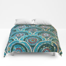 Aqua Teal Blue and Green Sparkling Faux Glitter Circles and Dots Comforters