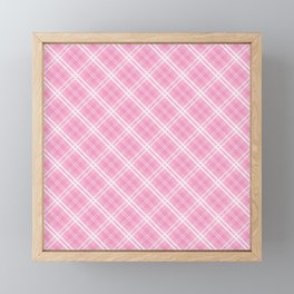 Bright Chalky Pastel Magenta and White Tartan Plaid Check Framed Mini Art Print