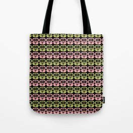Mid Century Modern Retro Abstract Flowers Pink and Avocado Green on Black Tote Bag