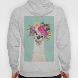 Flower Crown Llama in Green Hoody