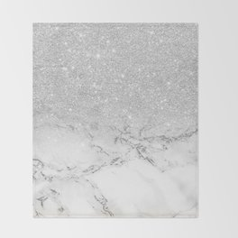 Modern faux grey silver glitter ombre white marble Throw Blanket