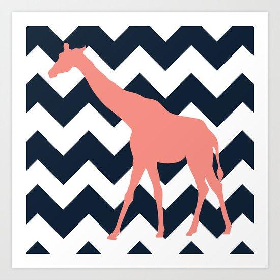 Giraffe on Chevron Background Art Print