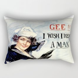 Vintage U.S. Navy Recruitment Poster Rectangular Pillow
