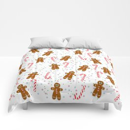 Gingerbread man wishes you Merry Xmas! - White Comforters
