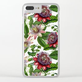 Vintage & Shabby Chic- Retro Passiflora Pattern Clear iPhone Case