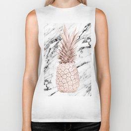 Rose Gold Pineapple on Black and White Marble Biker Tank