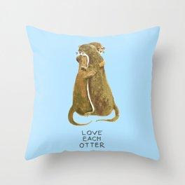 Love each otter Throw Pillow