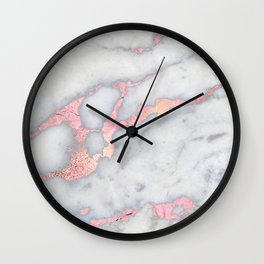 Rosegold Pink on Gray Marble Metallic Foil Style Wall Clock