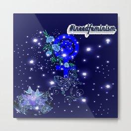 #IneedFeminism - Blue Bloom Metal Print